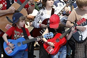 Guitar Kids Jamming Out For World Record