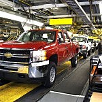 Chevy Truck On The Assembly Line At The Flint Plant