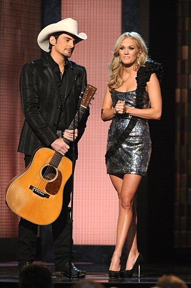 Brad Paisley and Carrie Underwood perform onstage