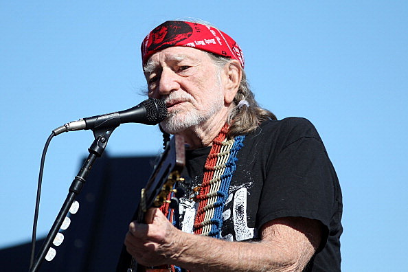 Willie Nelson singing on stage
