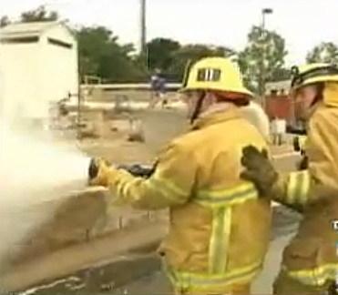 Firefighter Ross Fighting fire