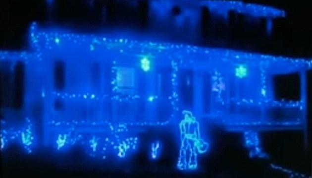 Blue Christmas Lights House