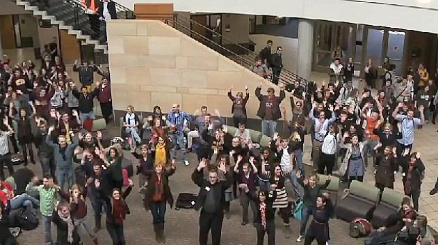 Flash mob singers