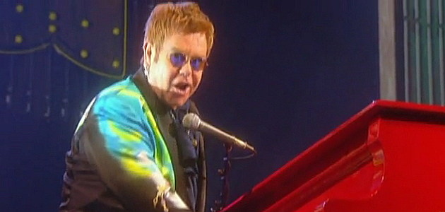 Elton John and his red piano