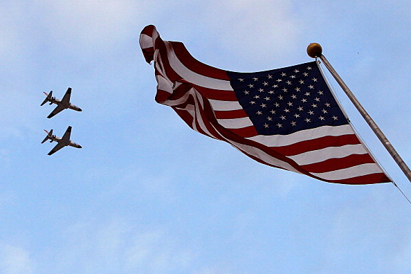 T45 jet fighters with american flag