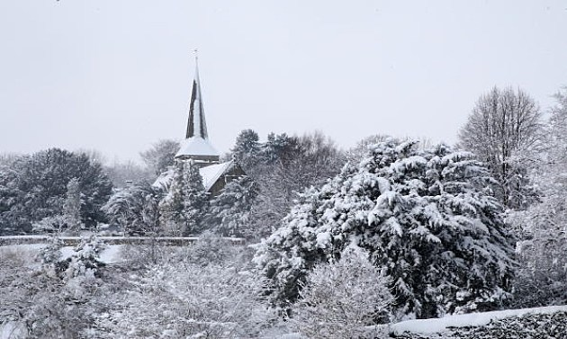 Church Steeple seen in the fridged January sub zero temperatures