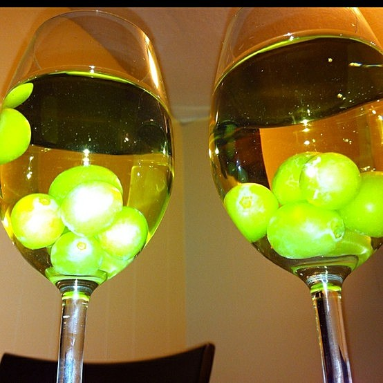 frozen grapes in wine