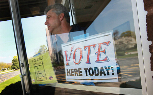 Voter exiting a polling place