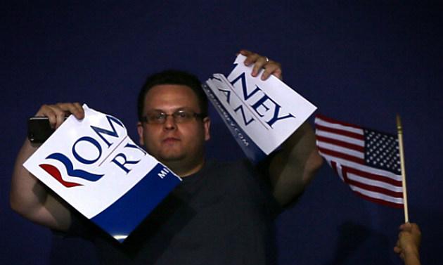 Mitt Romney Paul Ryan poster ripped by an unhappy republican