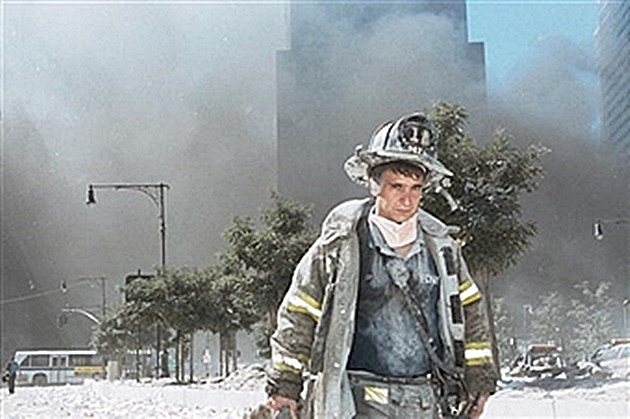 Firefighter exits WTC ground zero