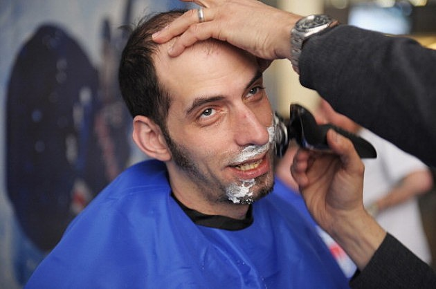 "Jon Schwartz gets a shave during the ""Final Shave"" To Launch 2012 Beard-A-Thonon"