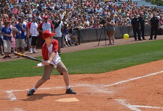 John Cloer, 11, steps up to bat at Celebrity Softball Challenge