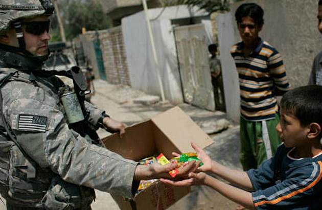 U.S. troop with candy