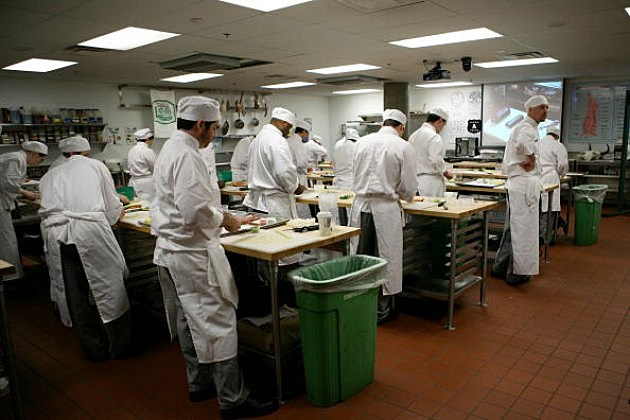 Student chefs prepare their food during Culinary Class
