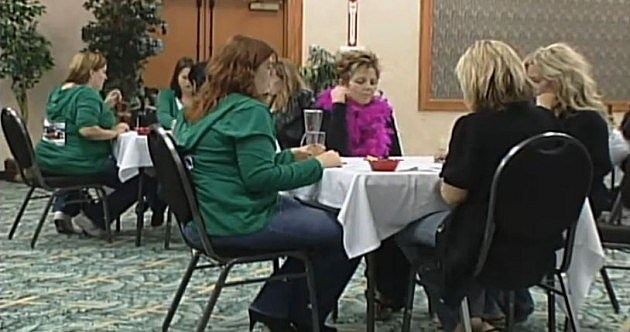Ladies playing Bunco for Alzheimer's