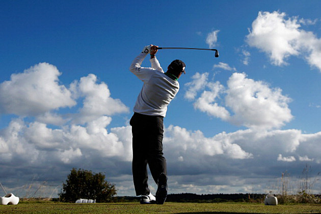 Golf swing at the KLM Open
