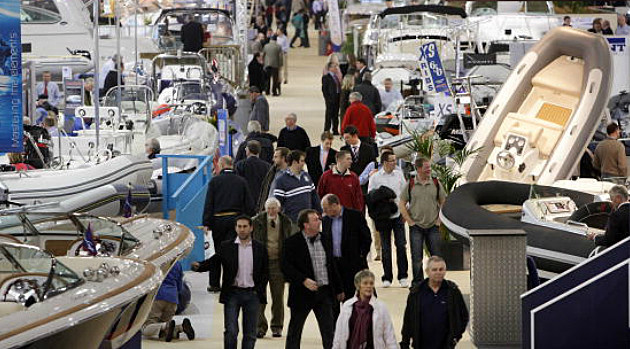 Boats on display at a boat show
