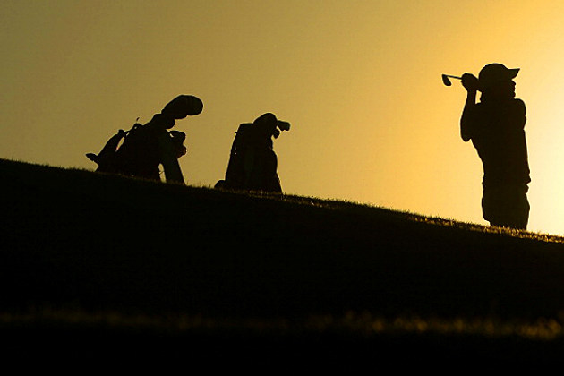 Golfer at dusk